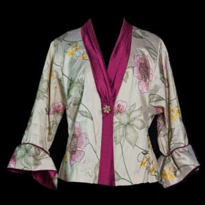 Embroidered Silk Jacket with gathered collar and bell cuffs