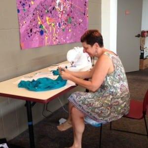 "Edye working with ""found"" fabric."