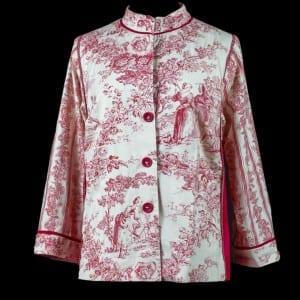 Red Voile Mandarin Shirt