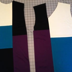 Color blocked front and back cut out.