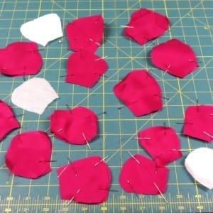 photo flower petals cut and pinned