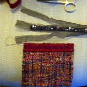 Preparing the beaded net trim.