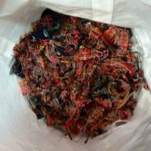 Look at all the scraps in the trash can from trimming the seams.
