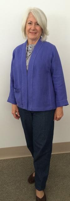 Martha in her lovely blue  basic jacket.