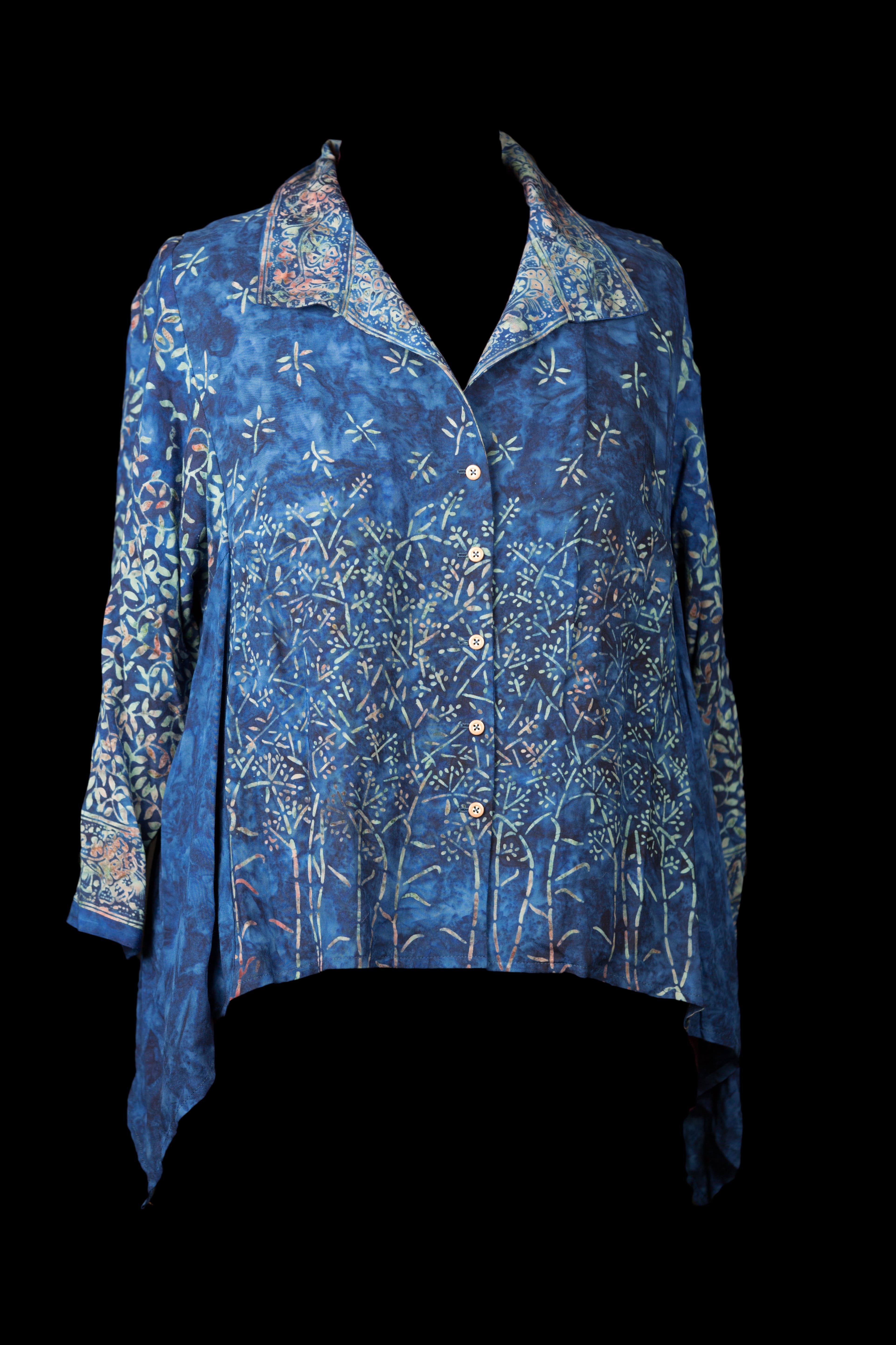 Blue Rayon Shirt with spread collar and swing side