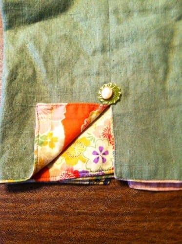 Close up of the slit in the green linen pants.