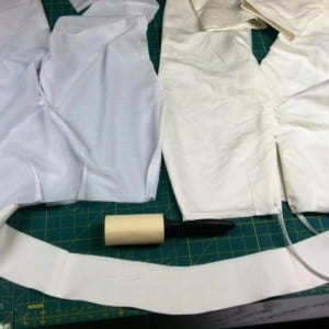 White pants, white batiste lining, interfaced facings and the lint roller!