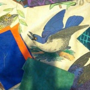 A bird with Cherrywood fabric.