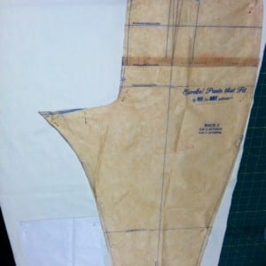 Cutting the broadcloth underlining.