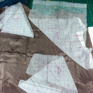 Gridded pattern on the taupe jacquard.