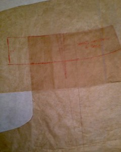 Shaped Waistband for Back pattern traced over pant pattern.