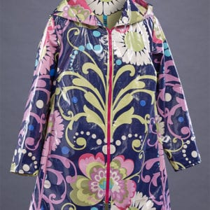 The hot pink zipper is the perfect finish for this colorful raincoat.