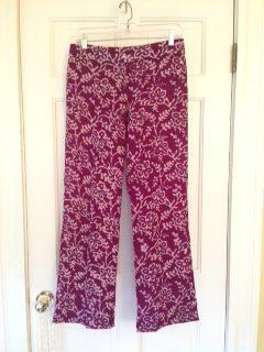 Wide leg pants in mulberry cotton batik