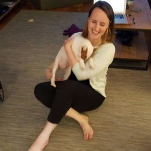 Erin with Milo, who is quite a live wire.