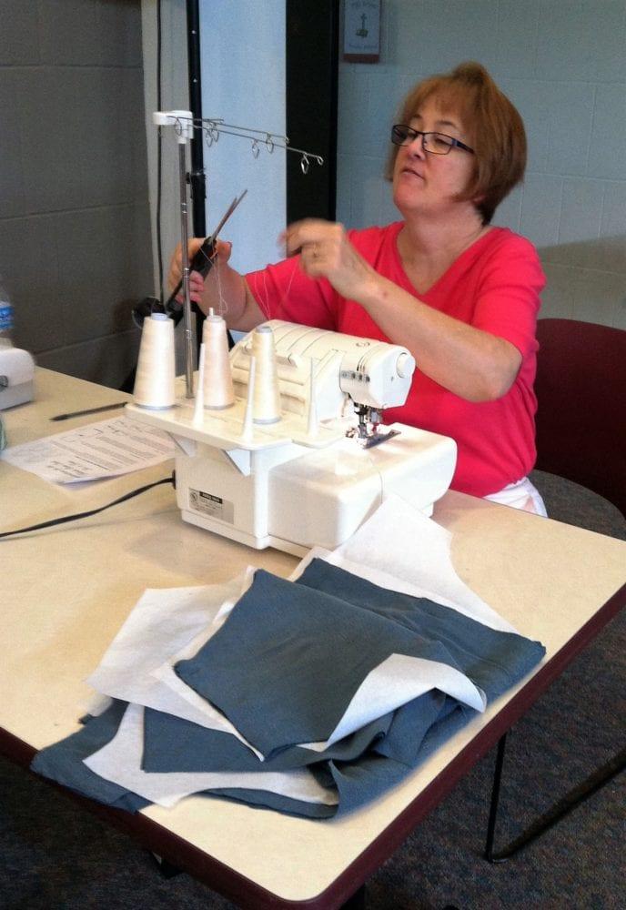 Cheryl Kirk at a FfA pattern testing event at Woodbrook.