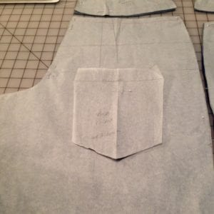 New pattern pieces for denim shorts back