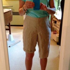 Assessing hem length on linen shorts