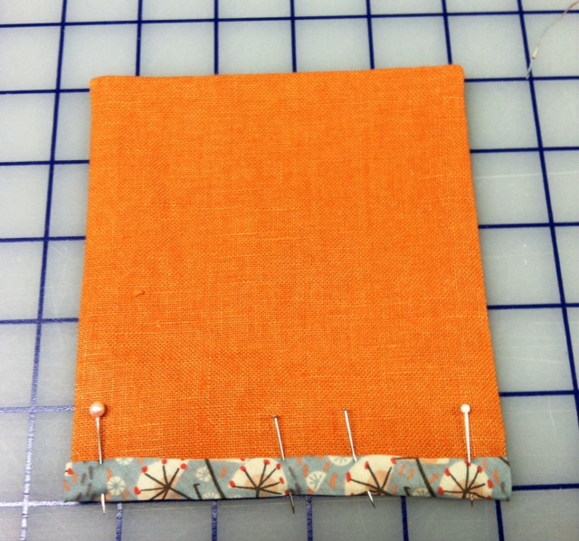 Right side of pocket with bias pinned