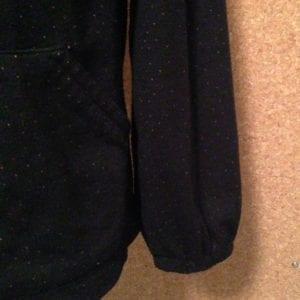 Black Hoodie sleeve hem with elastic casing