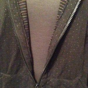 Black hoodie inside zipper