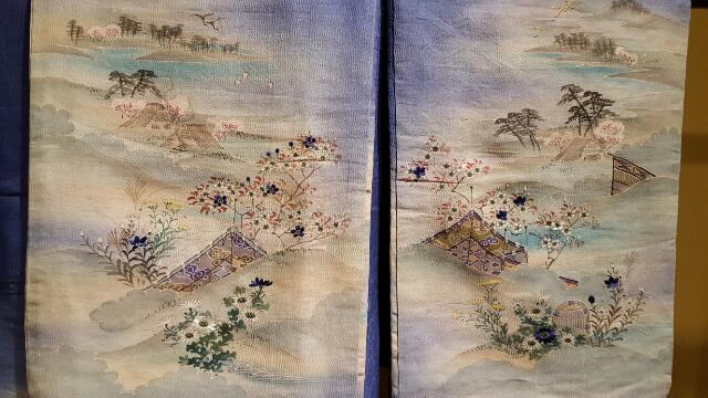 A pair of delicately painted and embroidered sleeves.