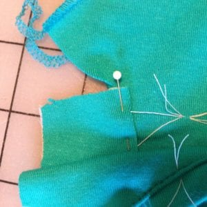 Matching front to back at dots with small pleat in shoulder