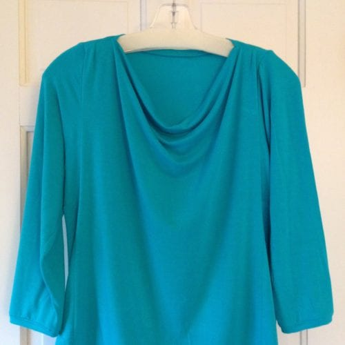 Blue draped front tee