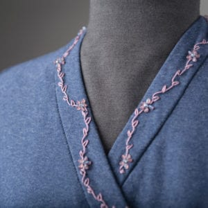 Detail of embroidery and beading on Shaped Band.