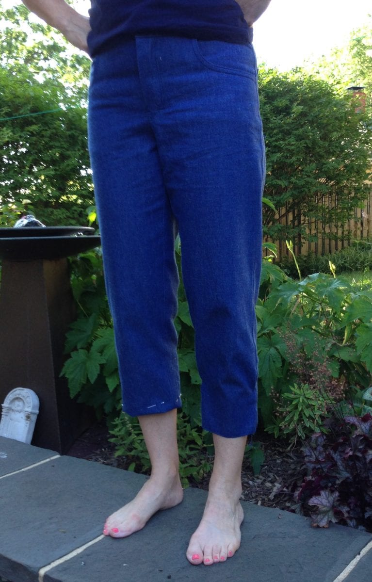 Trying out hems on my denim capris.