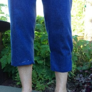 """Capris with 1"""" hem on right leg and pegging on left."""