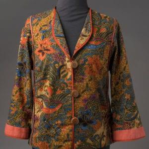 Tropical Birds & Flowers Batik jacket, front view