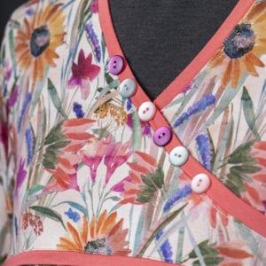Peachy Bouquet - Button detail