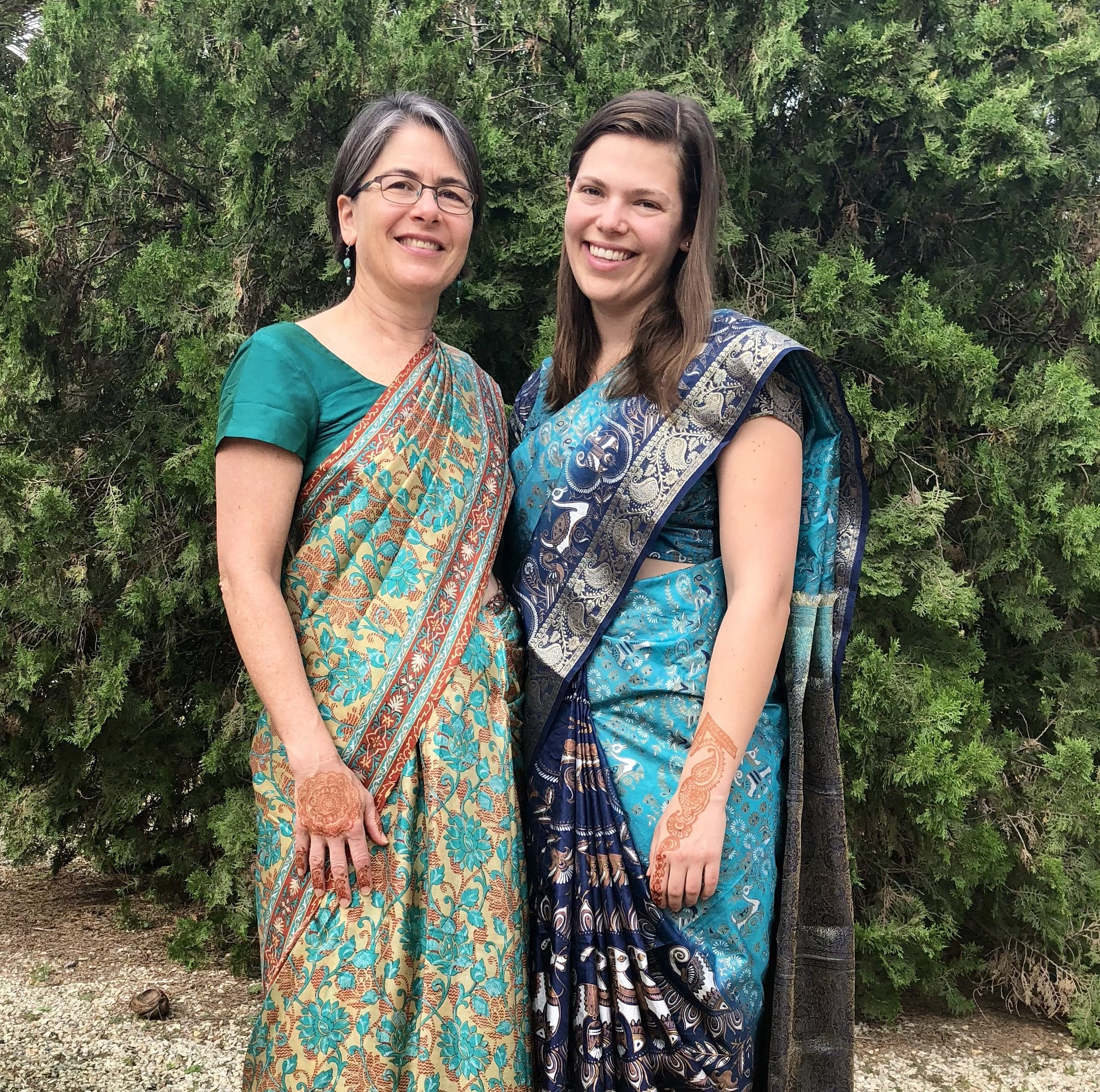 Carrie and Meg in Saris