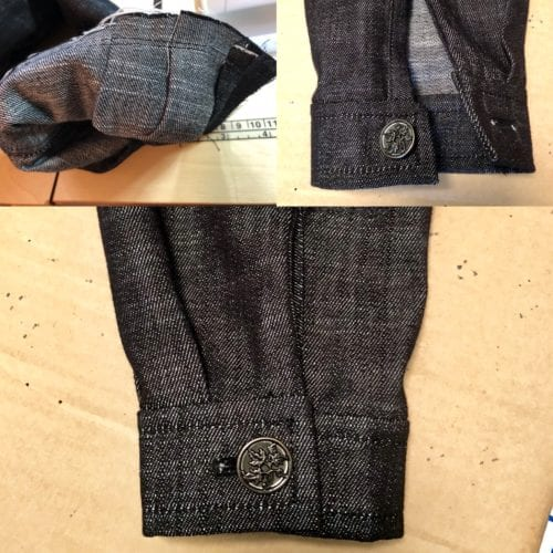 Finished lap cuff with pleats and placket.