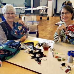 Peg and Carrie stitching boro style