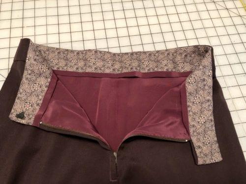 Interior of shaped waistband