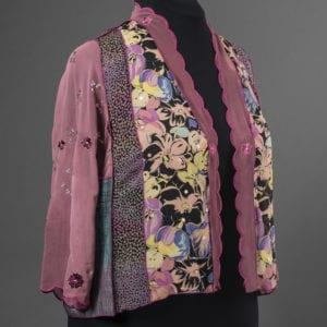 Strip pieced jacket in sheer silks