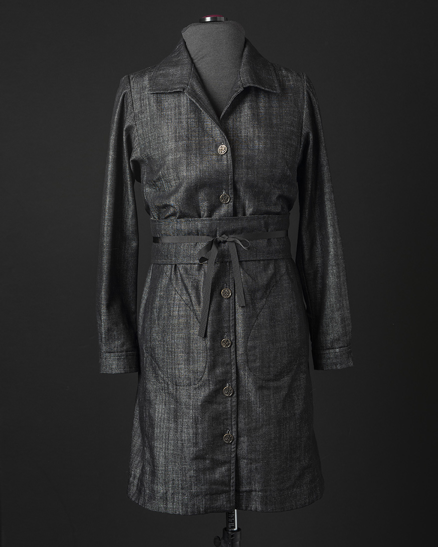 Denim Shirt Dress with Obi Belt