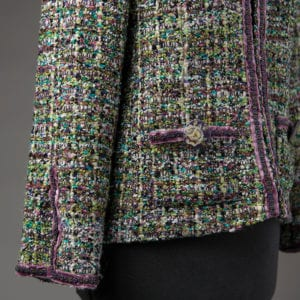 Carrie's French style Tabula Rasa Jacket, trim detail on sleeves, pockets and front