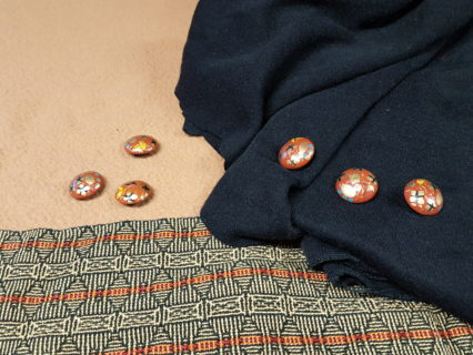 square armhole Tabula Rasa Jacket in washed wool and handwoven fabrics.