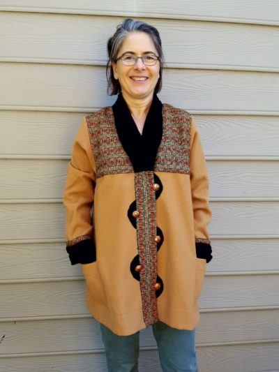 Square Armhole Tabula Rasa Jacket in Handwoven and hand felted fabric.