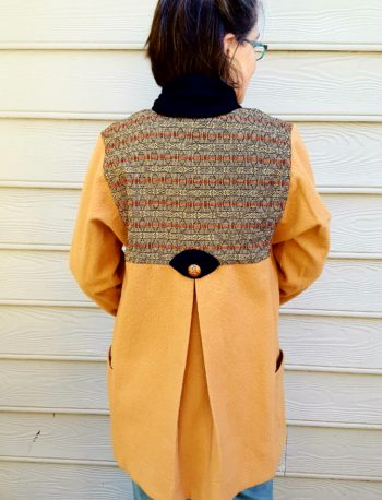 Square armhole Tabula Rasa Jacket in handwoven and felted fabrics