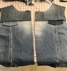 Jean Jacket Variations for the Tabula Rasa Jacket by Fit for Art Patterns, recycled denim vest Pocket Flaps - light or dark?