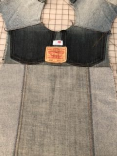 Jean Jacket Variations for the Tabula Rasa Jacket by Fit for Art Patterns, recycled denim vest, Finished Back Yoke facing