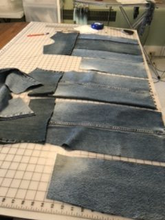 Jean Jacket Variations for the Tabula Rasa Jacket by Fit for Art Patterns, pieces cut for recycled denim vest