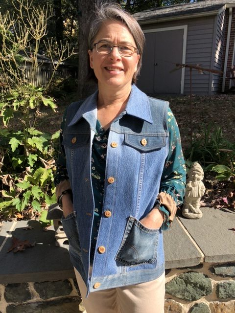 Jean Jacket Variations for the Tabula Rasa Jacket by Fit for Art Patterns, Carrie in Recycled Denim Vest