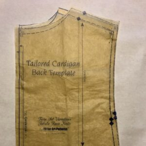 Tailored Cardigan Back Template lined up